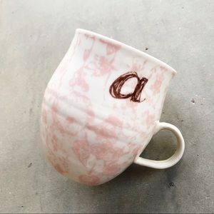 ANTHROPOLOGIE Homegrown Monogram A Initial Mug